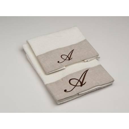 Asciugamani con cifre su lino for Bagno y bagno gr
